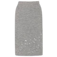 GIVENCHY COUTURE A/W 1998 ALEXANDER McQUEEN Gray Cut Work Knit Pencil Skirt