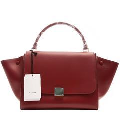 Celine Burgundy Red Trapeze Handbag
