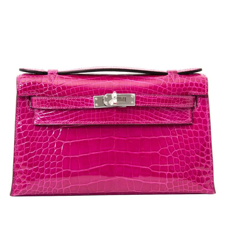 Rare Brand New Hermes Kelly Pochette Alligator Rose Sheherazade PHW For Sale