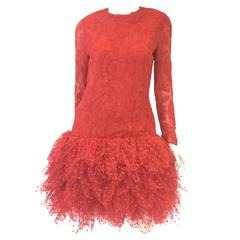 1980s Bill Blass Red Lace and Polkadot Tulle Cocktail Evening Dress