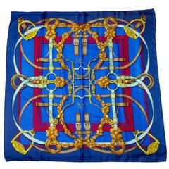Hermes Blue Grand Manege 90cm Silk Scarf