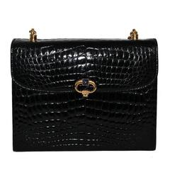 Exceptional rarity of Gucci black croco & lapis lazuli bag of the 60s