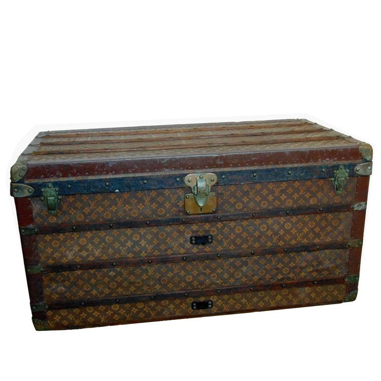 early louis vuitton steamer trunk monogram canvas extra large courier circa 1906 for sale at 1stdibs