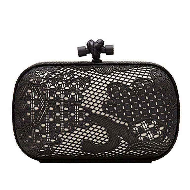 Bottega Veneta Black and White Lace Detail Knot Clutch Bag For Sale