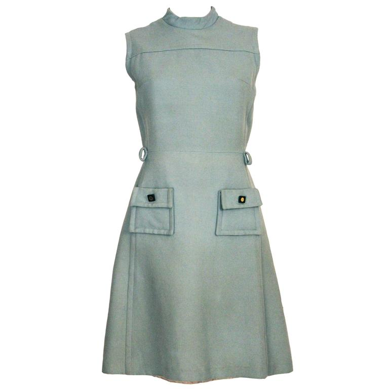 1960s Structured Blue Mod Mini Dress