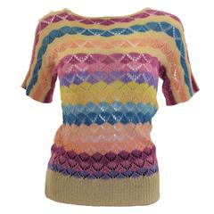 1920s Multicolour Stripe Crochet Jumper