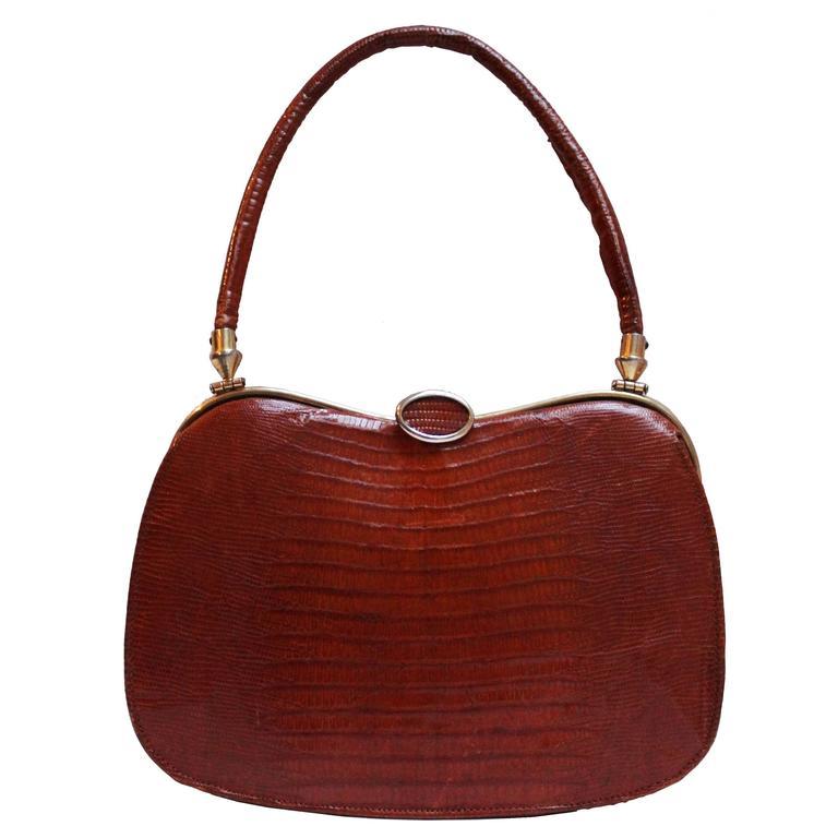 ed7b565b9d Chestnut Snakeskin bag by Pedro Mayorga For Sale at 1stdibs
