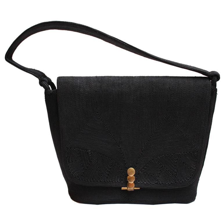 1stdibs Large Black Corde Bag D9FQtnAsp