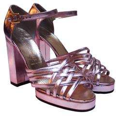 1970s Disco, Metalic Pink Platforms Shoes