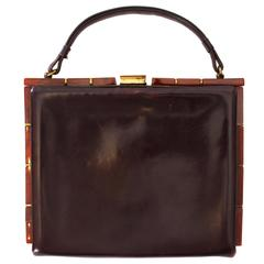 1920's Brown Leather and Brass Art Deco Bag