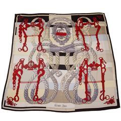 Hermes Red/Black/Neutral Della Cavalleria 140cm Silk/Cashmere Scarf Shawl