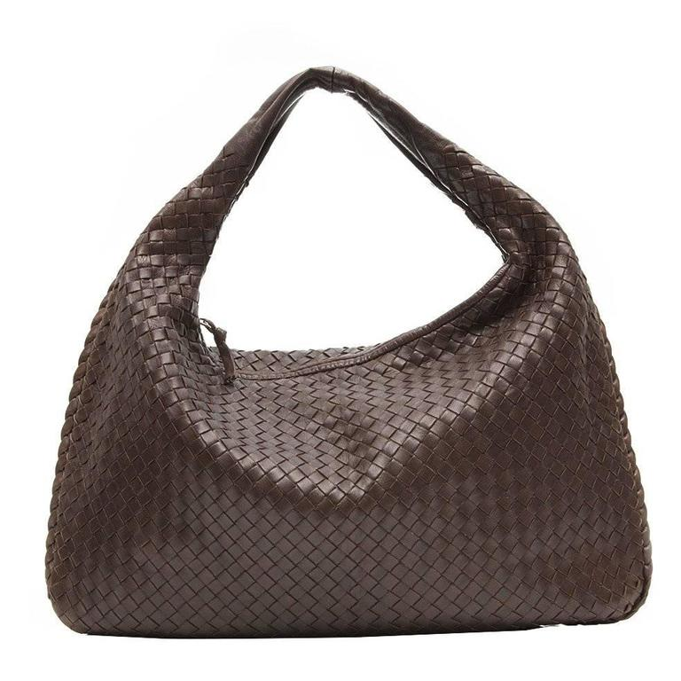 Bottega Veneta Medium Brown Intrecciato Leather Handbag 1