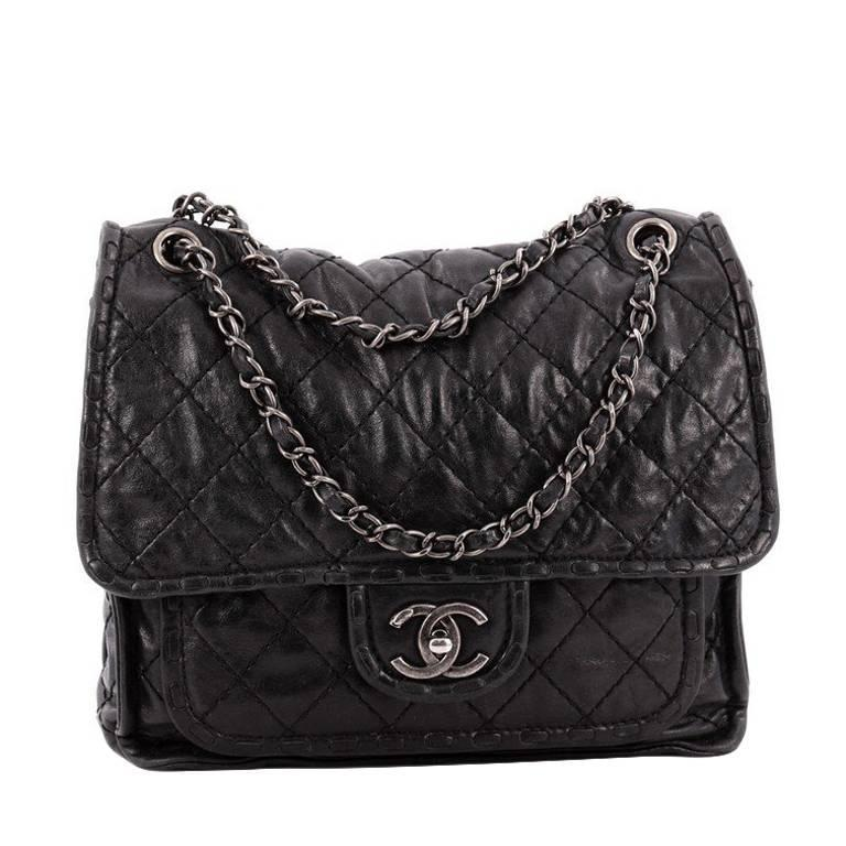 6dbbb32c3f4e Chanel Paris-Edinburgh Square Flap Bag Quilted Aged Calfskin at 1stdibs