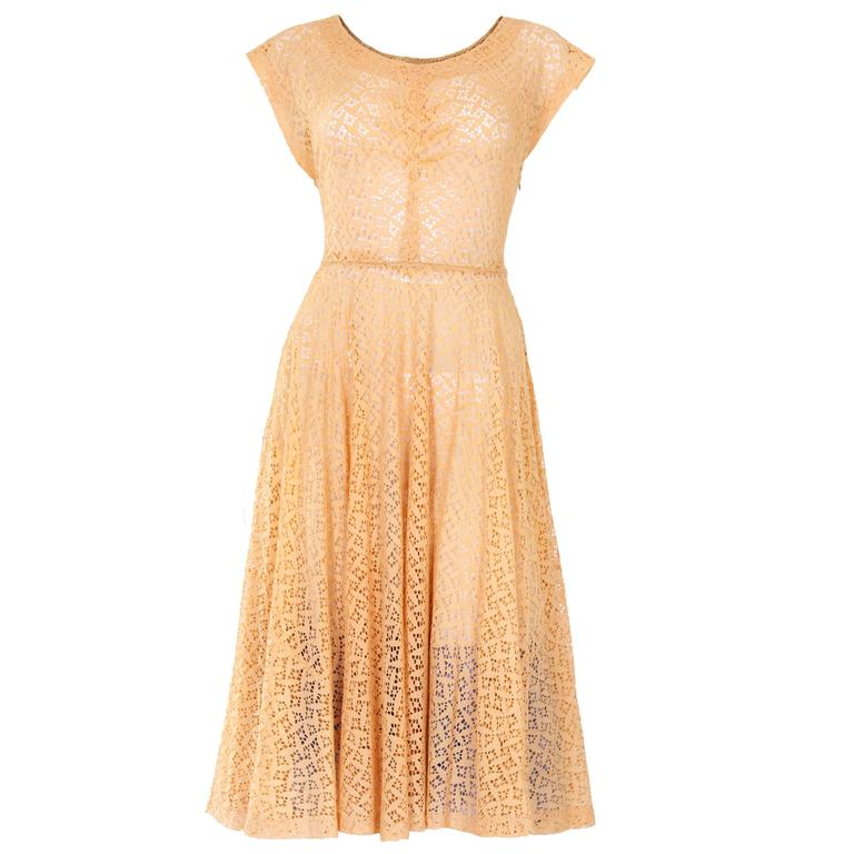 1950s Apricot Broderie Anglaise Dress 1