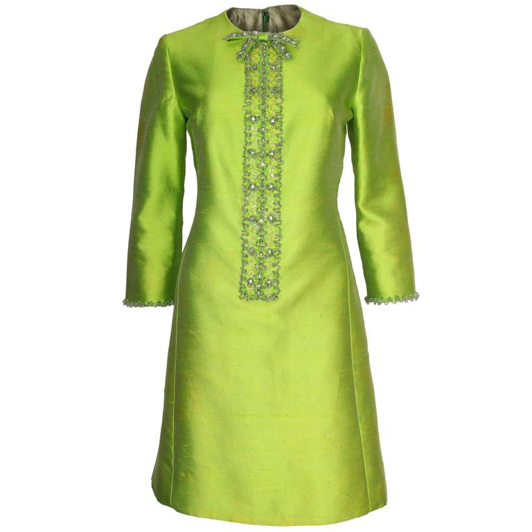 1960s Bright Green Embellished Silk Cocktail Dress 1
