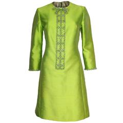 1960s Bright Green Embellished Silk Cocktail Dress
