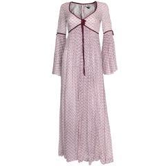 1970s Purple & White Indian Cotton Printed Maxi Dress