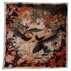 Hermes Silk and Cashmere 140cm Flamingo Party Scarf/Shawl