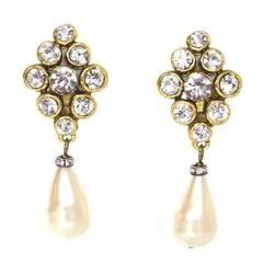 Chanel Vintage Crystal And Pearl Drop Clip-On Earrings