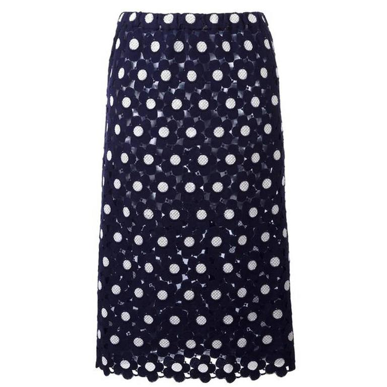 Comme Des Garcons Blue and White Embroidered Skirt For Sale