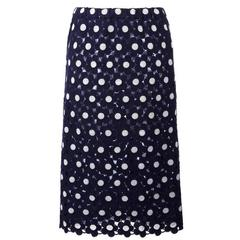 Comme Des Garcons Blue and White Embroidered Skirt