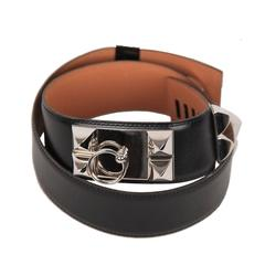 Authentic HERMES Black Leather Collier de Chien CDC MEDOR BELT Size 78