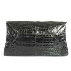 Nancy Gonzalez Black Crocodile Clutch and Shoulder Bag