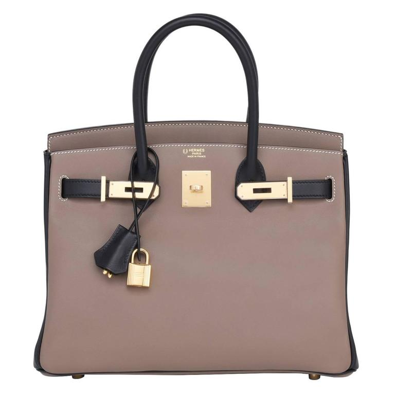 4f605869833c Hermes HSS Etoupe Black 30cm Swift Birkin Horseshoe Stamp Exclusive For Sale