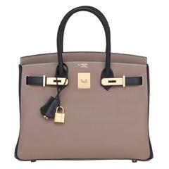 Hermes HSS Etoupe Black 30cm Swift Birkin Horseshoe Stamp Exclusive