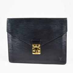 "Vintage Louis Vuitton Black Epi Leather ""Porte-Documents Senateur"" Clutch"