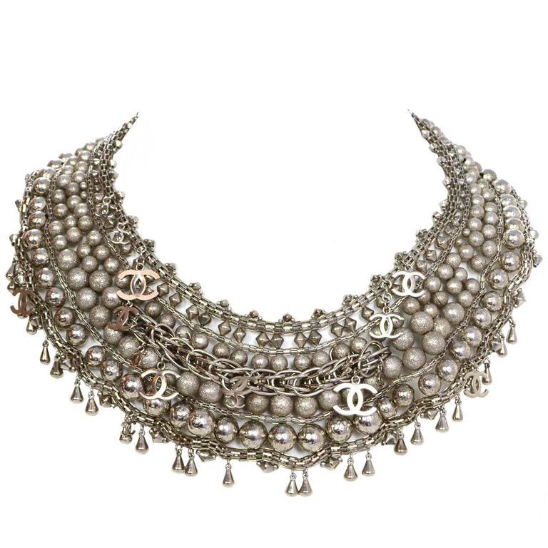 Chanel Paris-Bombay Silver Beaded Bib Necklace 2