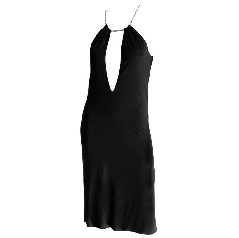 Free Shipping:Rare & Iconic Tom Ford For Gucci SS2000 Black Jersey Runway Dress! 1
