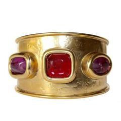 Goossens Paris Hammered Gold and Pink Rock Crystal Cuff Bracelet