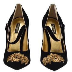 Dolce & Gabbana Runway Black Gold Evening Mary Jane Heels in Box