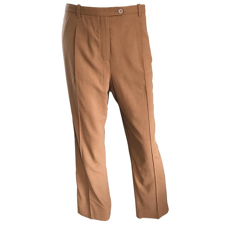 Vintage Hermes 1990s Tan Brown Wide Leg Smoking Trousers Virgin Wool Pants Sz 42
