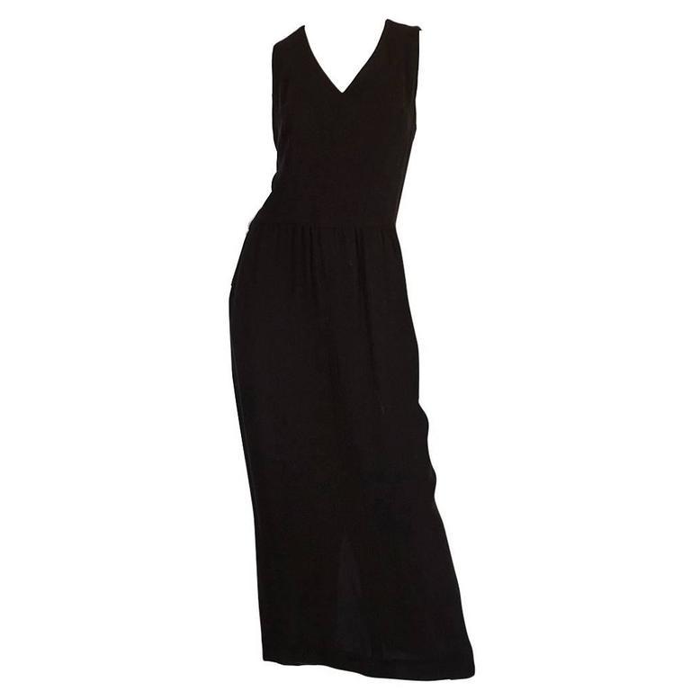 Chic 1990s Chanel Woven Silk Crepe Sleeveless Dress 1