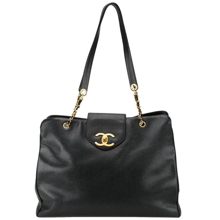 bff97824990442 Chanel Vintage Black Leather Gold Large Shopper Travel Weekender Tote Bag  For Sale