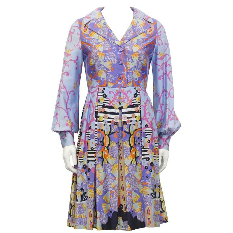 1960's Anonymous Combed Cotton Psychedelic Seashell Print Shirt Dress