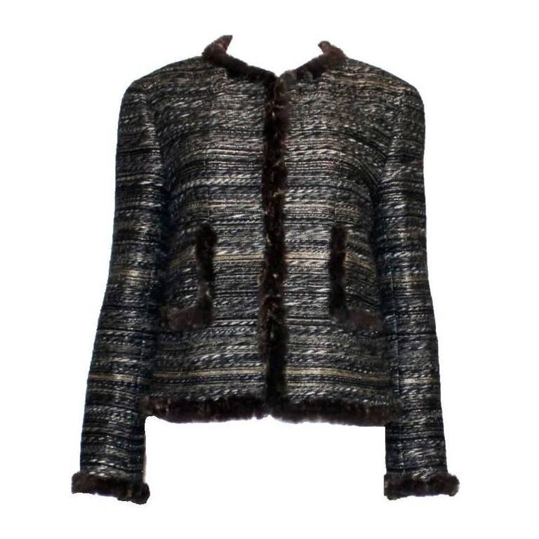 53a34959633 Superbe Chanel Maison Lesage Fantasy Tweed and Fur Jacket For Sale ...