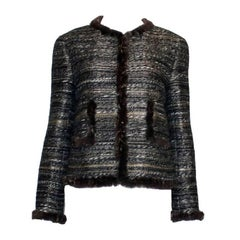 NEW Chanel Maison Lesage Metallic Fantasy Tweed Jacket Blazer with Fur Trimming