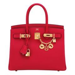 Hermes Rouge Casaque 30cm Birkin Red Epsom Gold Hardware Gorgeous