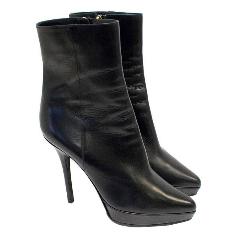 Yves Saint Laurent Black Heeled Ankle Boots