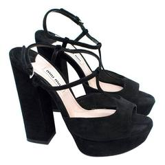 Miu Miu Black Block Heel Sandals