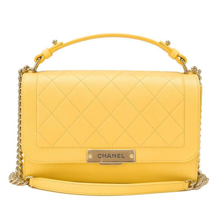 Chanel Yellow Caviar Medium Label Click Flap Bag NEW