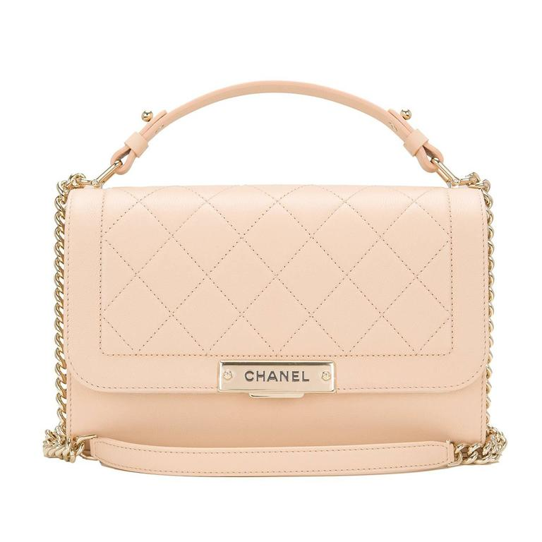 Chanel Light Beige Medium Label Click Flap Bag NEW