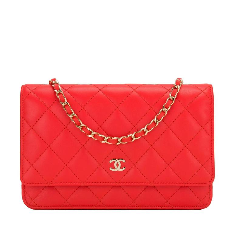 Chanel Red Quilted Lambskin Classic Wallet On Chain (WOC) For Sale