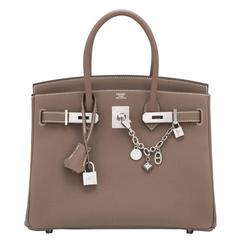 Hermes Etoupe 30cm Togo Birkin Taupe Bag Palladium Hardware Sporty Chic