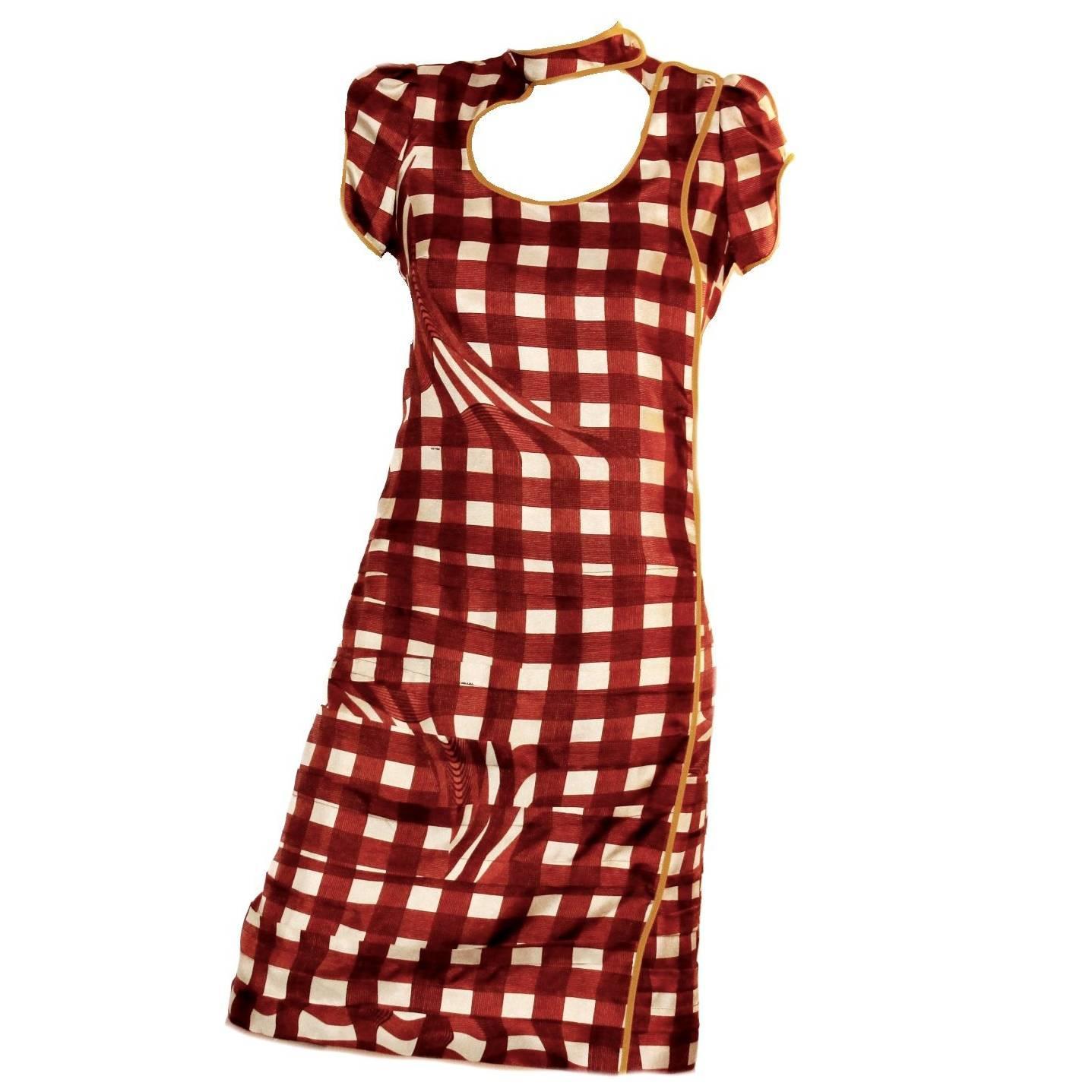 NEW Prada Asian-Inspired Ruched Printed Silk Dress