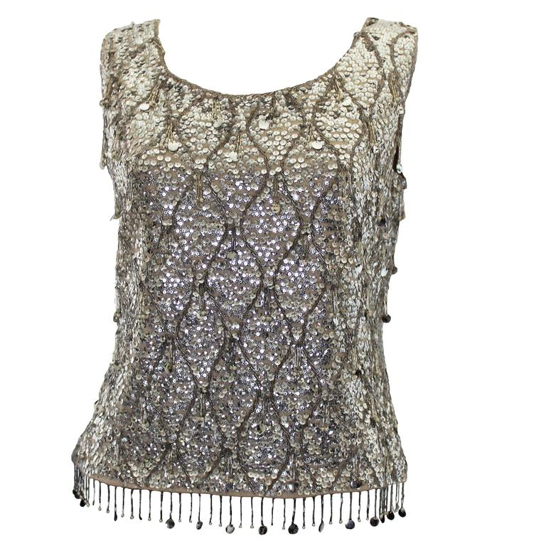 1960s Silver Sequinned Evening Top