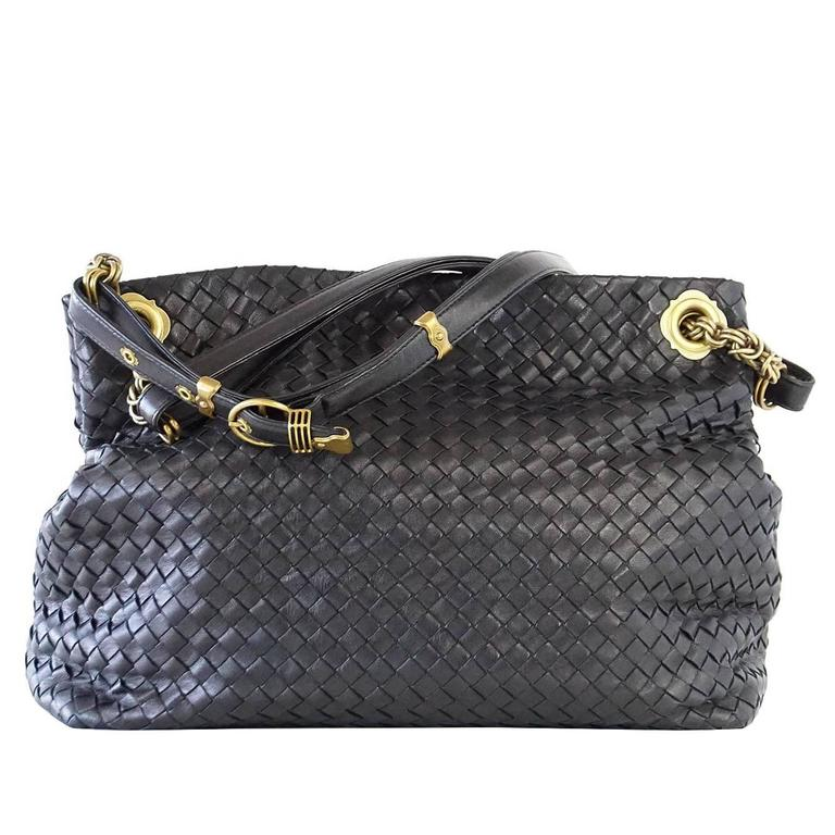 Bottega Veneta Black Signature Woven Leather Antiqued Gold Hardware Bag